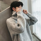 Mens Solid Color Loose Turtle Neck Thicken Pullover Fashion Knitted Sweater C57