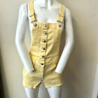 NEW LADIES Yellow mustard pale dunagrees denim shorts set 90s Rave Buttons 6-14