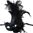 Women Costume Feather Masquerade Mask Halloween Mardi Gras Cosplay Party Black