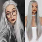Gray Silky Straight Lace Front Wig Synthetic Hair Long Full Head Wigs Fashion