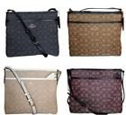 Coach Crossbody File Bag Signature Jacquard Black Brown Chalk Purse F29960