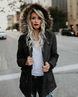 US Stock Womens Hooded Fur Winter Coat Outwear Quilting Parka Long Jackets Coats