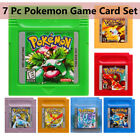 7 Pieces Game Cards Carts For Nintendo Pokemon GBC Game Boy Color Version