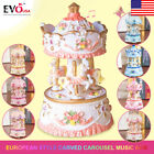 European Style Carved Carousel Horses Music box  Kids XMas Gift Toy LED Light