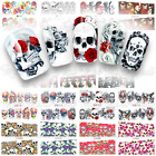 Day of the Dead, Sugar Skulls, Nail Water Decals Halloween Nail Wraps Full Nails