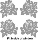 4 x Roses - Glass Door / Window decals/stickers for any window or glass panel