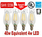 40W Replacement LED Light Bulb 40W Equivalent C12 E12 4 Watt Candelabra Dimmable