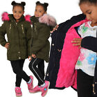 Kyпить Kinder Parka Riesen Kunst Fell Kragen Pink Teddy Fleece Mantel Jacke Army Winter на еВаy.соm