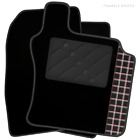 Fiat Doblo (2001 - 2009) Tailored Black Car Mats & Tartan Logo (R)