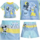 Disney Store Mickey Mouse Baby Boy Swimsuit  Rash Guard Pastel Blue Swim Trunks