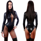 Sexy Latex Catsuit Catwomen Costume Black Vinyl Leather Jumpsuit Bodysuits S-XXL