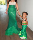 USStock Women Kid Mermaid Tail Full Skirt Party Maxi Fancy Dress Cosplay Costume
