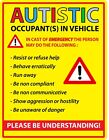 Autistic Occupant In Vehicle Warning Autism Awareness Die Cut Vinyl Decal