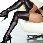 WOMEN SEXY THIGH HIGH LATEX CATSUIT STOCKINGS + THONGS G-STRING ROCK GLAM SMART