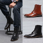 Mens Oxford Leather Ankle Martin Boots Warm Pointed Toe Brogue Wing Tip Shoes