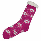 LADIES WOMENS SNOWFLAKE SHERPA LINED THERMAL WINTER CO-ZEES SLIPPER SOCKS SIZE