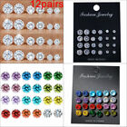12Pairs/Set Crystal Zircon Stainless Steel Earrings Sets Women Ear Stud Jewelry