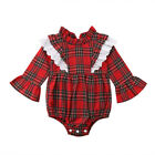 US Newborn Girl Baby Kids Xmas Lace Plaids Little Sister Romper Big Sister Dress