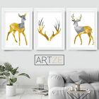 Set of 3 Yellow & Grey Geometric STAG Fawn Antlers Art Prints Poster Large