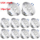 10x 3W Downlight LED Dimmable Recessed Ceiling Light Spotlight Lamp Driver 110V
