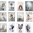 Cartoon Rabbit Girl Poster Hand-painted Canvas Painting Wall Kids Room Decor