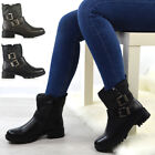 Womens Low Block Heel Zip Up Booties Ladies Cleated Sole Biker Ankle Boots Size