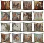 "18"" Horse Pattern Cotton Linen Cushion Cover Pillow Case Home Decor"