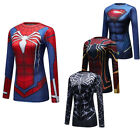 Ladies 3D Superman Shirt Printed Long Sleeve Cosplay Costume Slim fit Cool dry