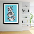 Abstract Blue Pineapple Sketch Art Print Wall Poster Contemporary Decor