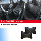 Black PU Leather Full Car Seat Covers Lumbar Front Rear Pillows Dodge $64.5 USD on eBay