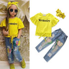 US Stock Toddler Baby Girls Tops T shirt Long Pants Leggings Outfit Set Clothes