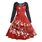 Fashion Womens Vintage Merry Christmas Print Long Sleeve Evening Party Dress US