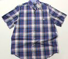 Men's Big & Tall Chaps Easy Care Woven Short Sleeve Shirt (718B13T) Blue Plaid