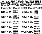 Racing Vinyl Numbers Decal Sticker For Car, BMX, Dirt Bike, Competition Outdoors