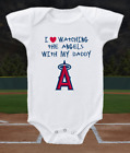 Los Angeles Angels Onesie Love Watching With Daddy Shirt Bodysuit on Ebay