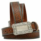 A6012 Women's 3-D Angel Ranch Tooled Brown Leather Belt NEW