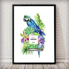 FRAMED - Parrot Floral Perfume Bottle Fashion Framed Wall Art Print - in white