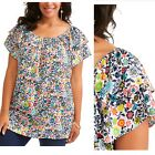 Terra & Sky Colorful Floral Peasant Top Smock Blouse Short Sleeve Shirt 1X