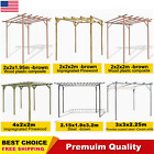 Garden Pergola Arbour Carport Canopy Impregnated Pinewood Steel Support Patio US