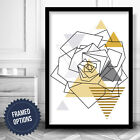 GEOMETRIC Wall Art PRINT Abstract ROSE Yellow Grey picture Poster Box Frame