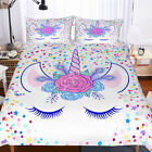 3D Kids Flowers Unicorn Eye Bedding Set Duvet Cover Comforter Cover Pillow Case image