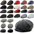 Mens Herringbone Tweed Newsboy Cap Peaky Blinders Baker Golf Flat Hat Retro Hats