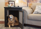 Pet Crate End Table Indoor Dog Wooden Cage Bed Nightstand House Kennel Cushion