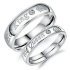 Ee_ His Queen And Her King Stainless Steel Couple For Lover Engagement Rings Jew