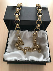Men's Luxury 18k Gold Filled Solid Belcher Chain Necklace bracelet sets XXL