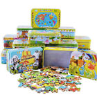 Quality 60 pcs/set Iron Box Cartoon Wooden Puzzles for Children,Kids Toddler