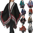Hot Womens Bohemia Tassels Knitted Cashmere Ponchos Shawl Cardigans Sweater Coat
