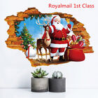 3d Christmas Santa Claus Elk Wall Stickers Removable Decorative Window Decals Uk