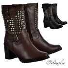 Womens Biker Studded Block Heel Ankle Boots Brown Casual Winter Buckles New Heel