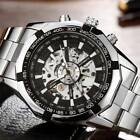 Mens Classic Transparent Luminous Skeleton Mechanical Steel Sport Wrist Watch image
